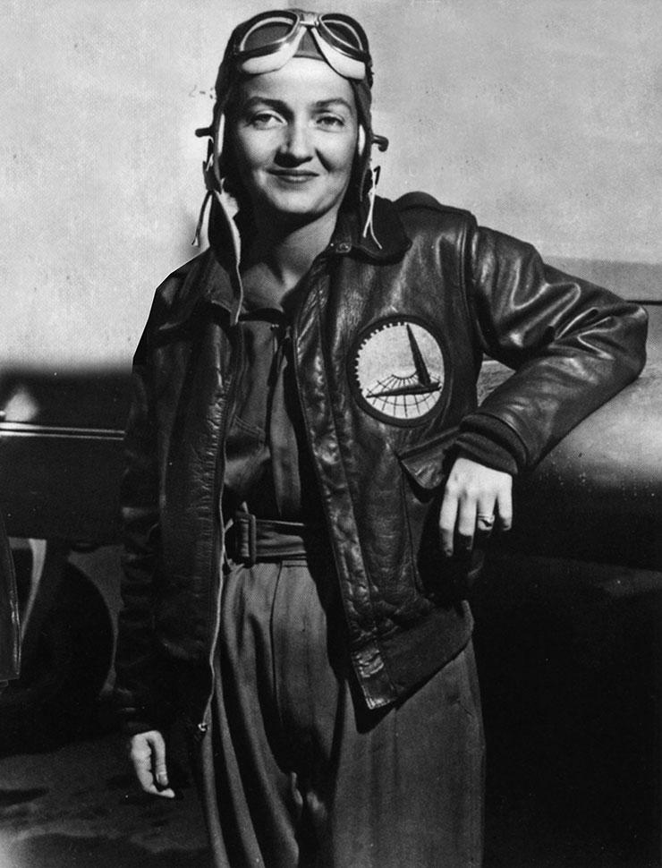 陸軍航空隊の空輸軍団(Ferry Command)おパッチが付いたA-2を着た女性飛行士。